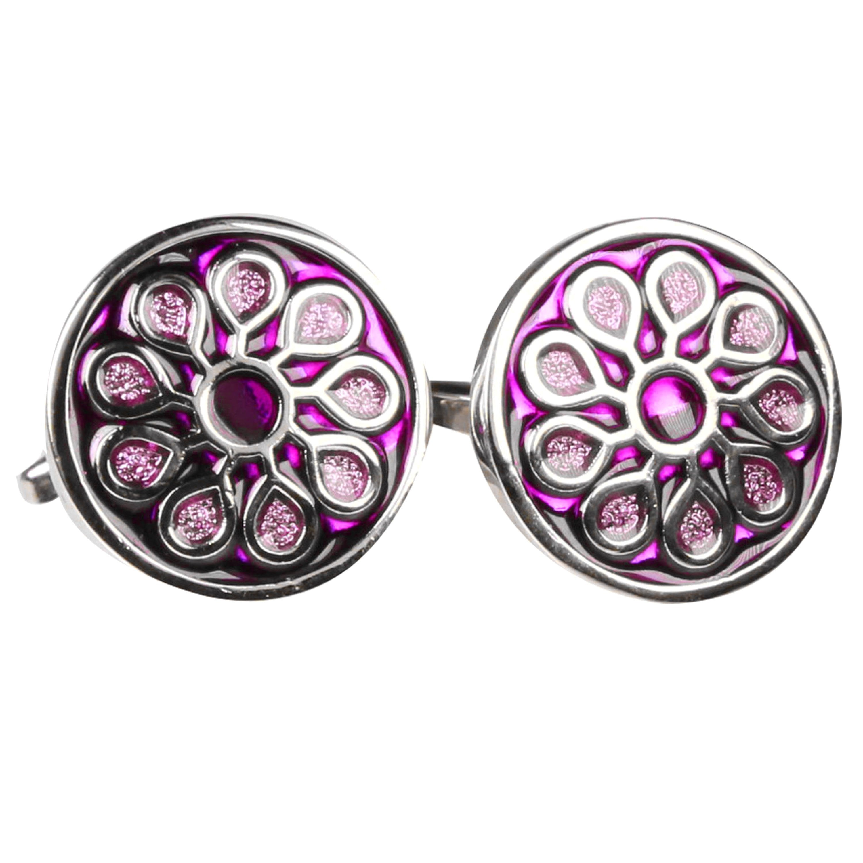 Silvertone Circle Purple Geometric Pattern Cufflinks with Jewelry Box - Ferrecci USA