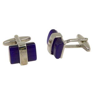 Silvertone Square Blue Cufflinks with Jewelry Box - Giorgio's Menswear