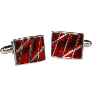 Silvertone Square Red Stone Cufflinks with Jewelry Box - Giorgio's Menswear