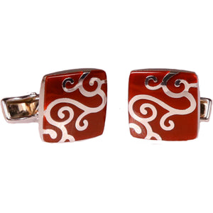 Mens Silvertone Red Paisley Cufflinks with Jewelry Box - Ferrecci USA