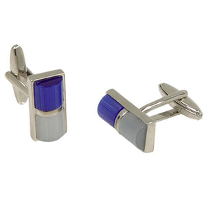 Silvertone Blue/White Gemstone Cufflinks with Jewelry Box - Giorgio's Menswear