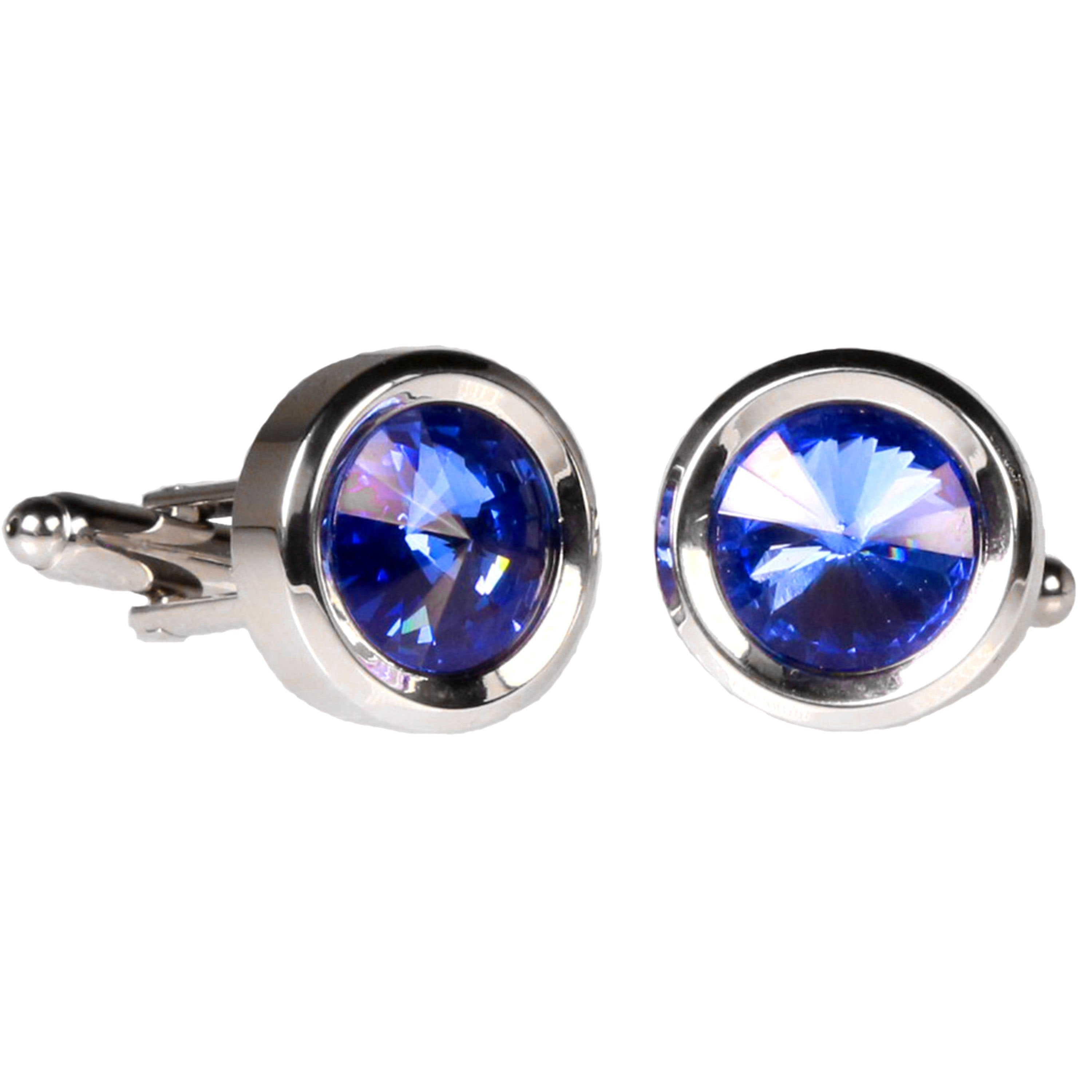 Silvertone Circle Blue Gemstone Cufflinks with Jewelry Box - Giorgio's Menswear