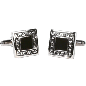 Silvertone Square Black/Silver Cufflinks with Jewelry Box - Giorgio's Menswear