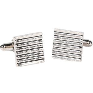 Silvertone Square Stripe Cufflinks with Jewelry Box - Ferrecci USA