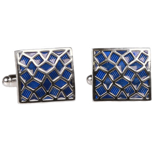 Silvertone Square Blue Geometric Pattern Cufflinks with Jewelry Box - Giorgio's Menswear