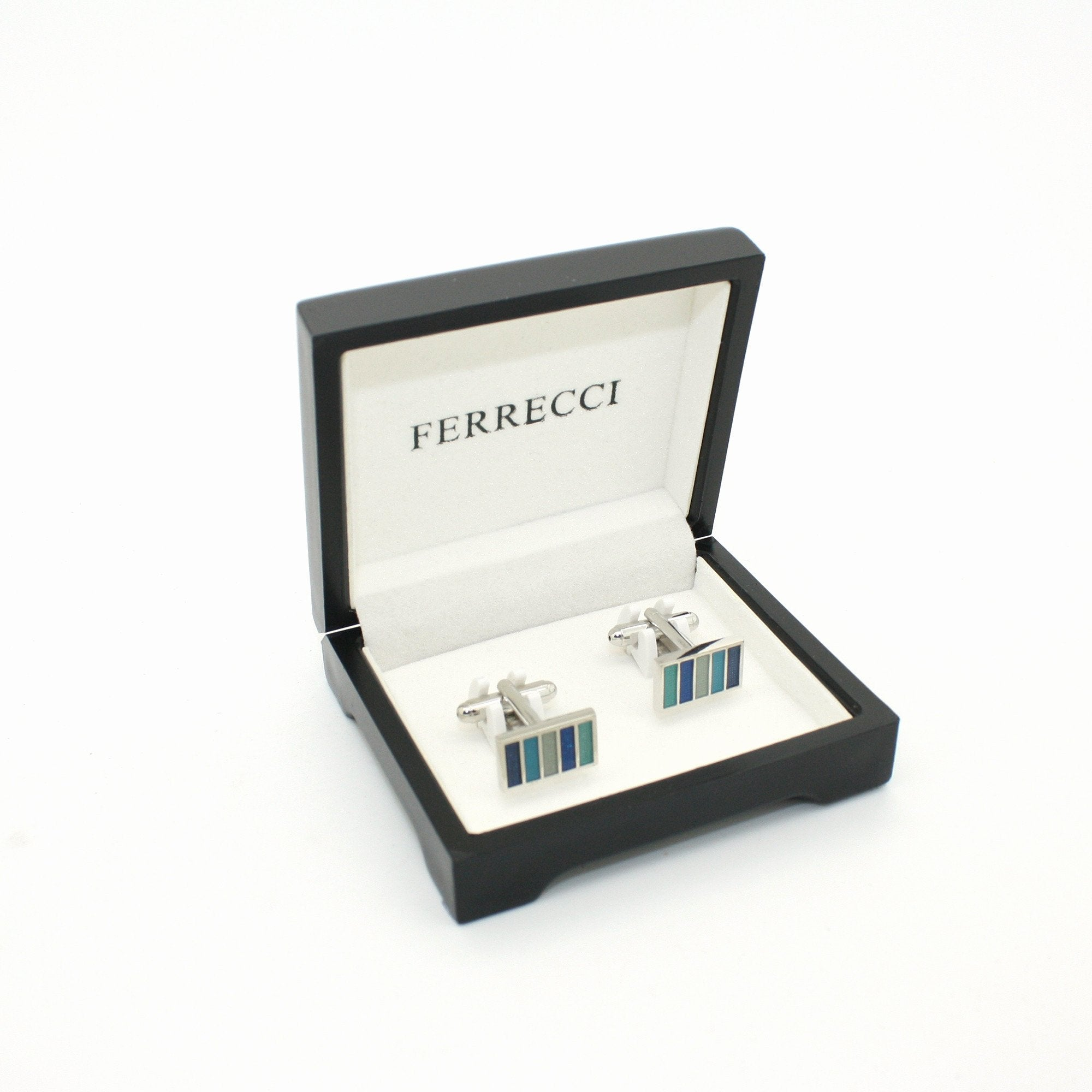 Silvertone Blue Cuff Links With Jewelry Box - Giorgio's Menswear