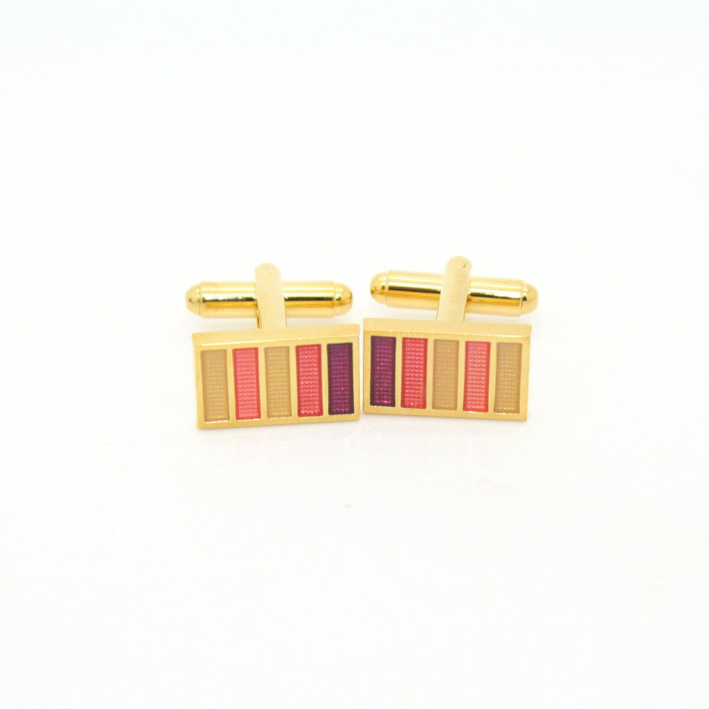 Goldtone Lavender Stripe Cuff Links With Jewelry Box - Giorgio's Menswear