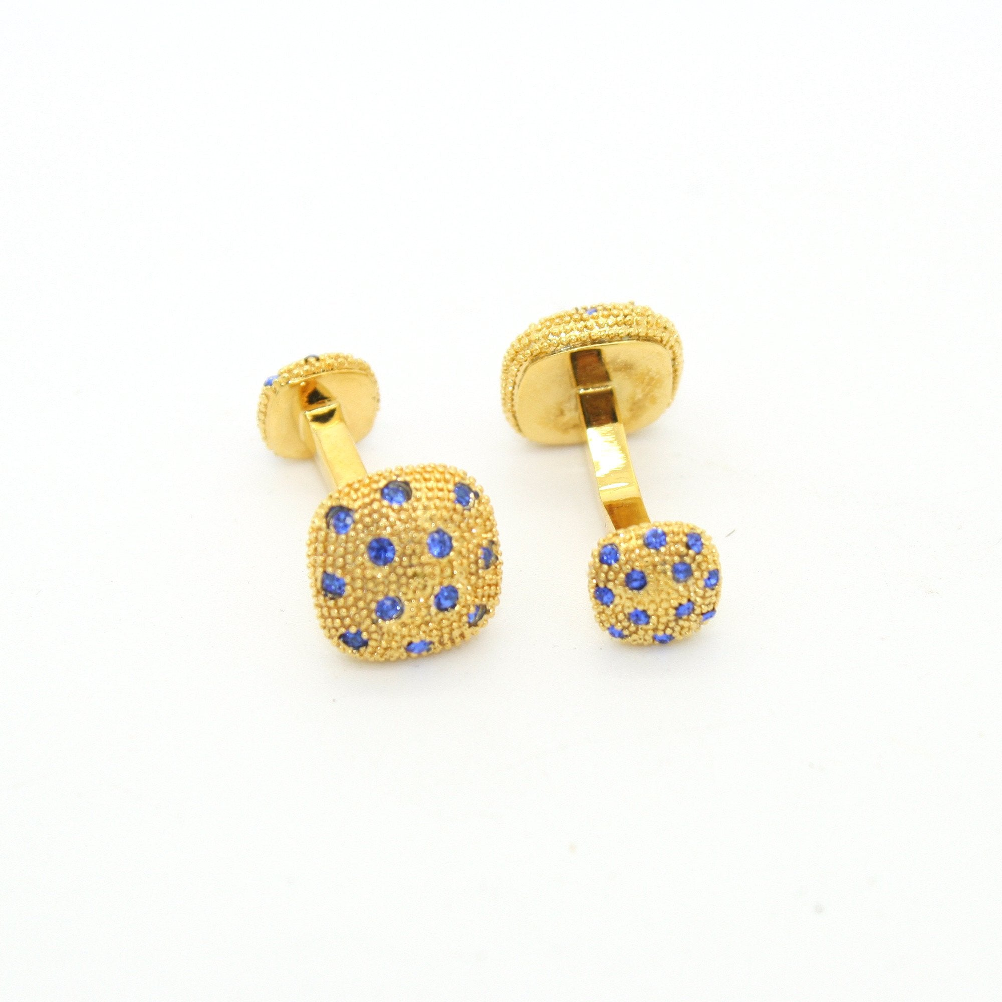 Goldtone Blue Gemstone Metal Cuff Links With Jewelry Box - Giorgio's Menswear