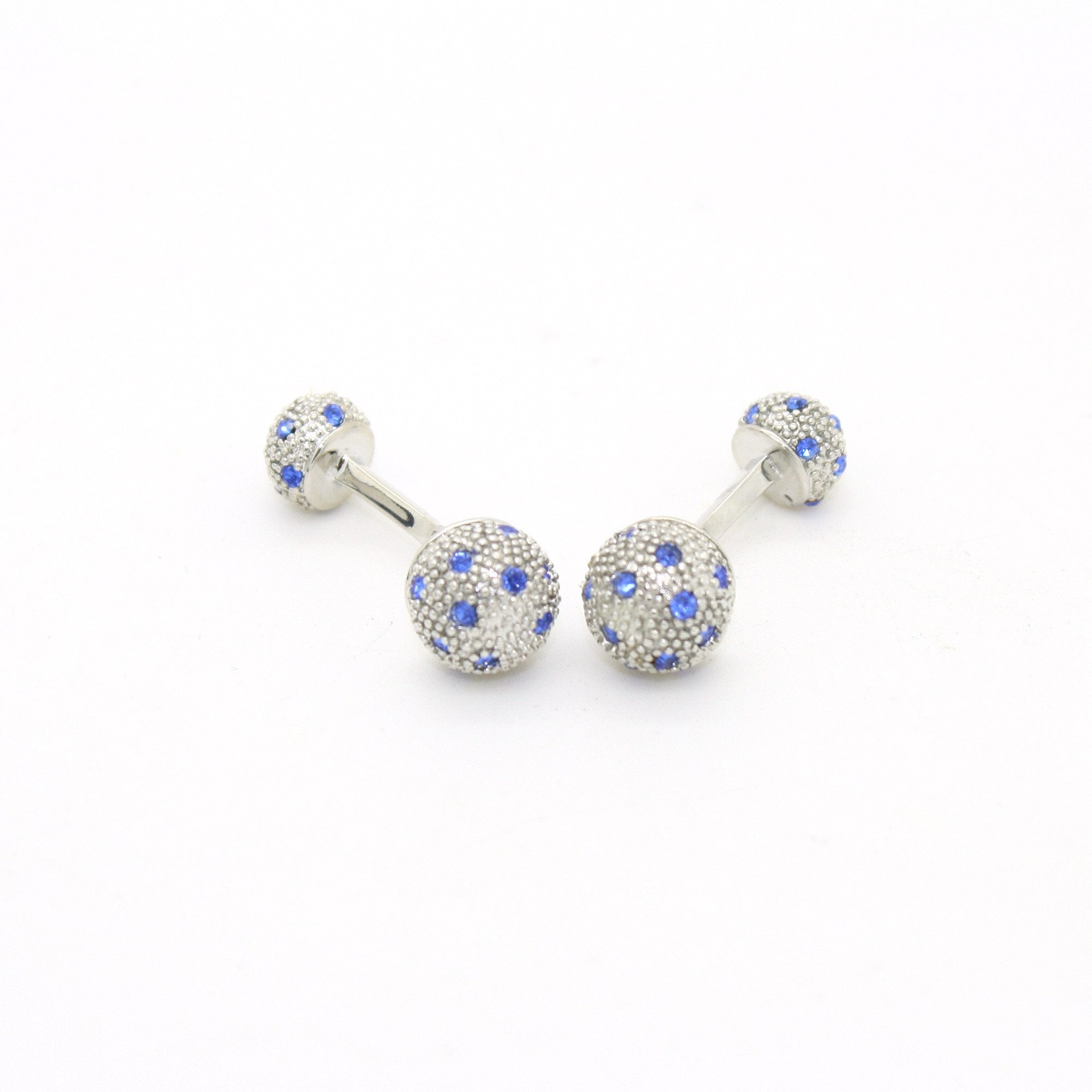 Silvertone Ball Gemstone Cuff Links With Jewelry Box - Giorgio's Menswear