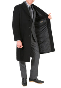 Creed Men's Wool Black Tone Stripe Top Coat - Giorgio's Menswear