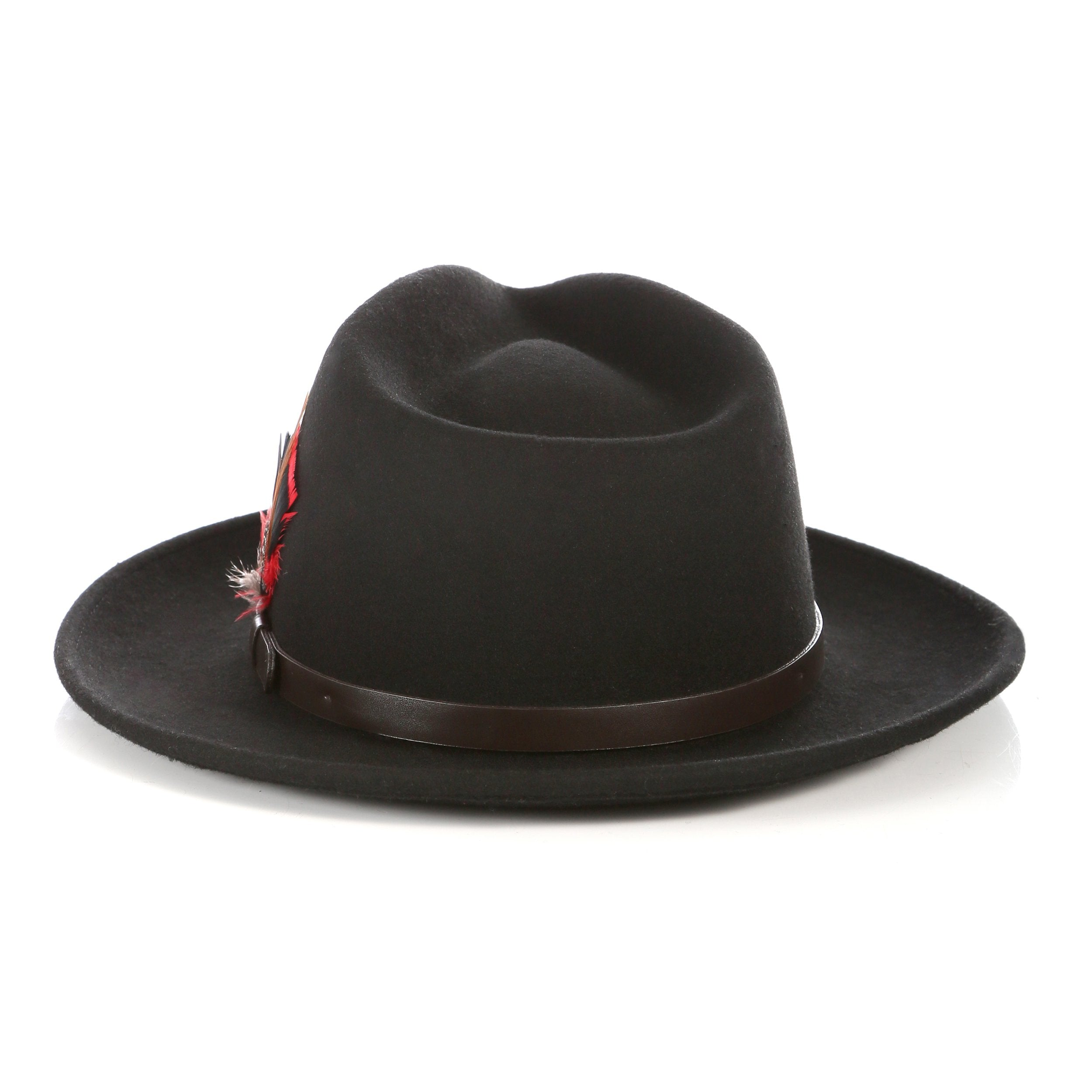 Crushable Black Fedora Hat with Leather Band - Giorgio's Menswear
