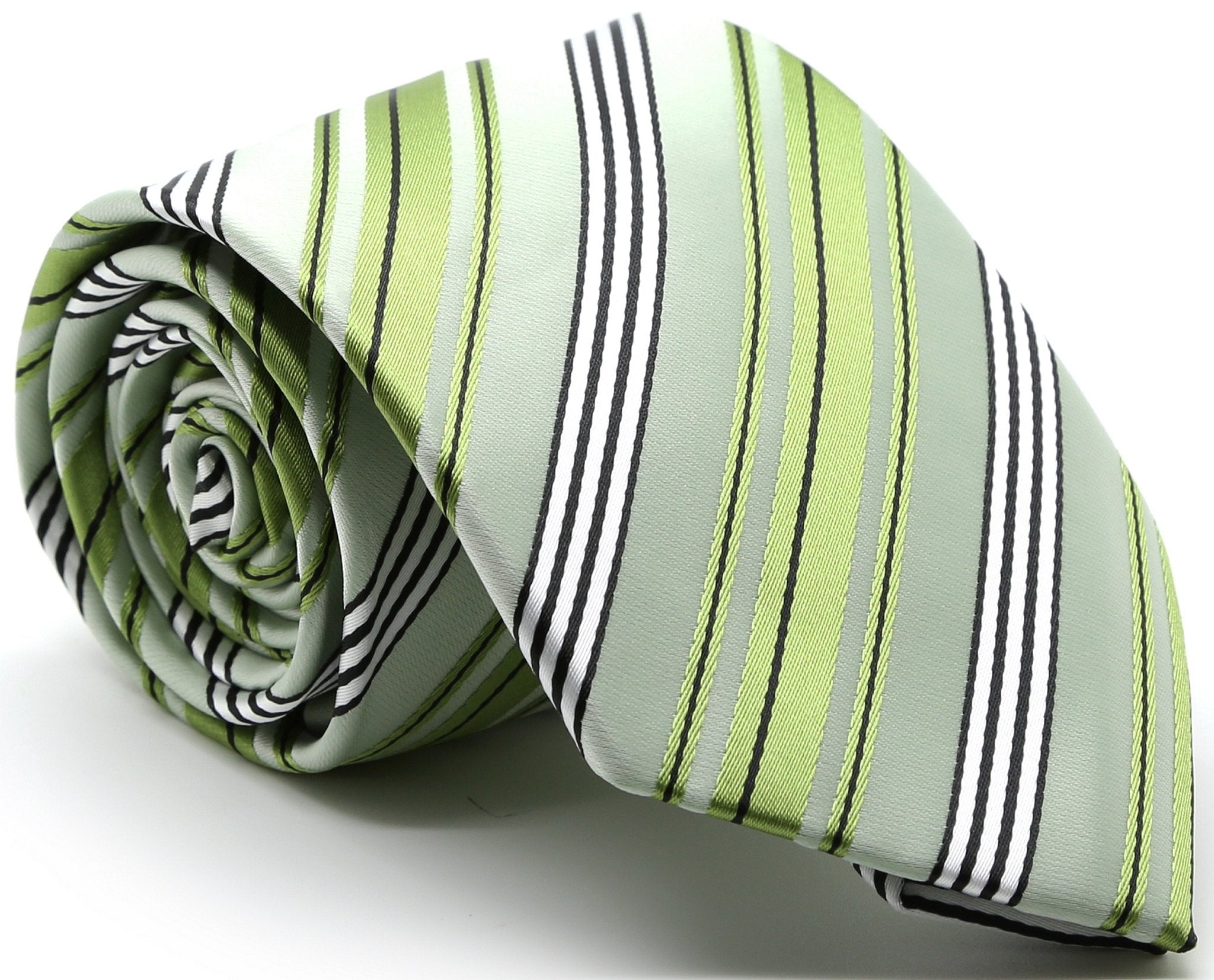 Mens Dads Classic Green Striped Pattern Business Casual Necktie & Hanky Set D-11 - Giorgio's Menswear