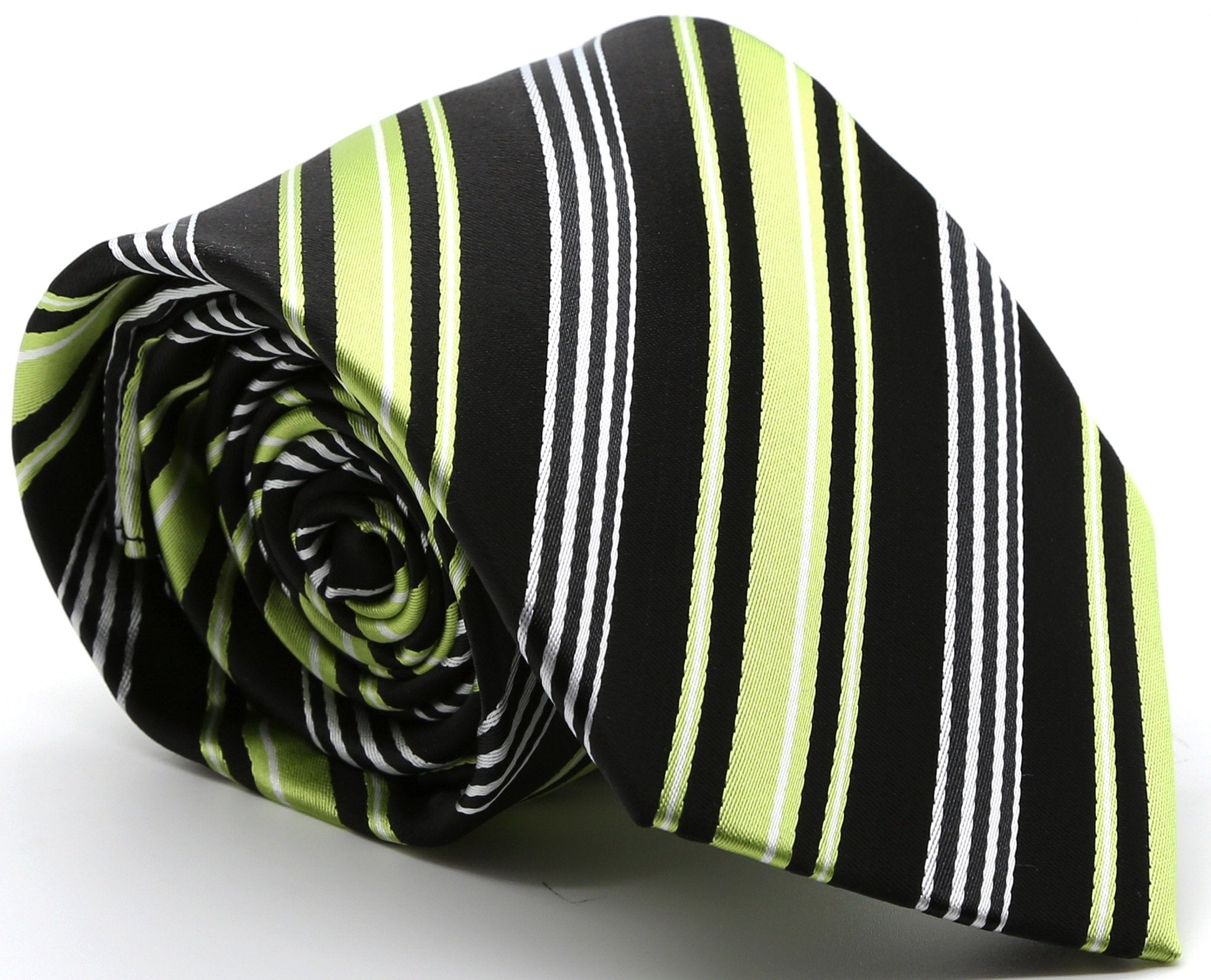 Mens Dads Classic Black Green Striped Pattern Business Casual Necktie & Hanky Set D-2 - Giorgio's Menswear