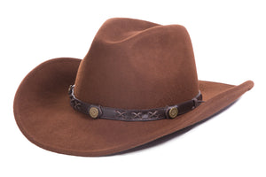 Brown Crushable Wool Western Dakota Cowboy Hat - Giorgio's Menswear