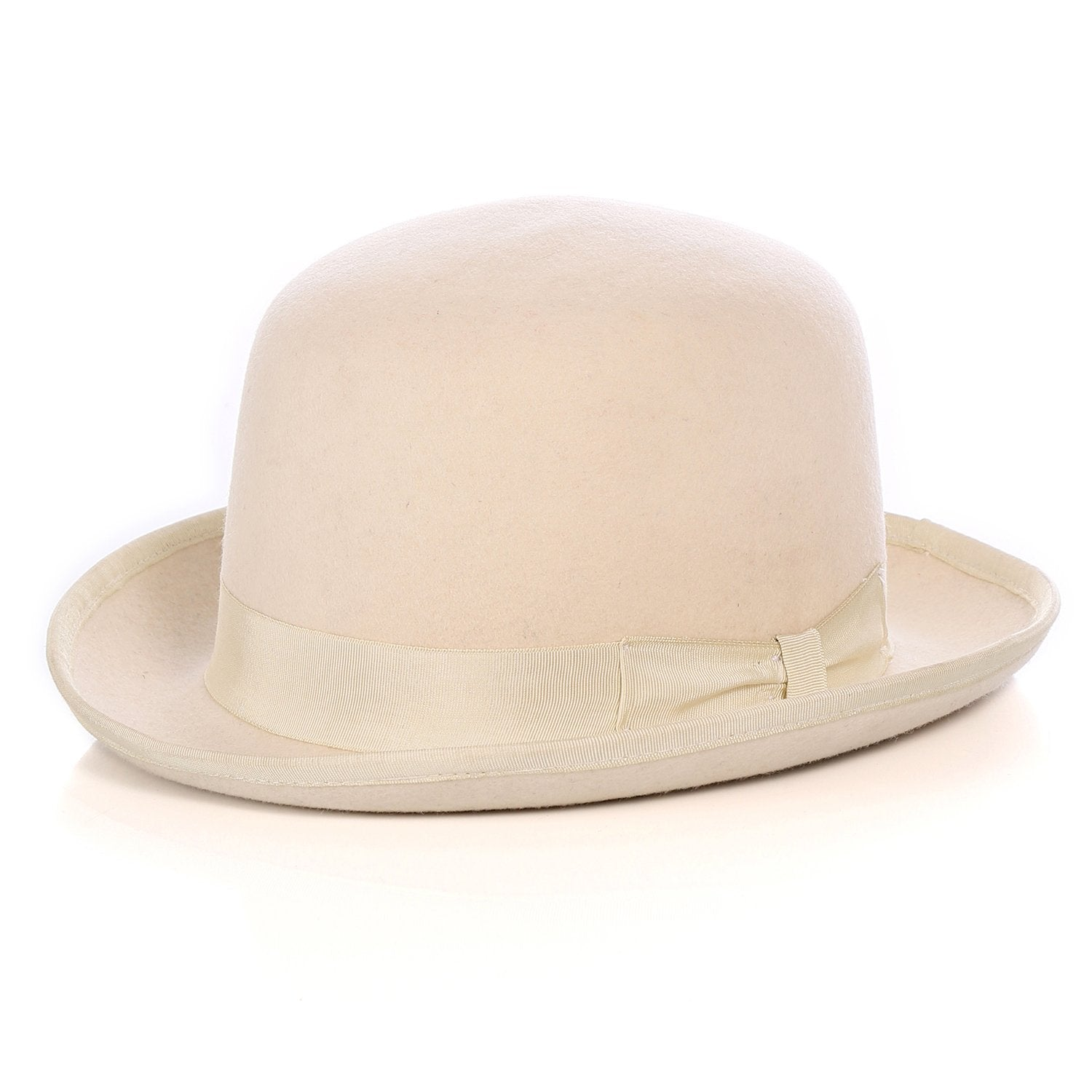Premium Wool Off-White Derby Bowler Hat - Ferrecci USA