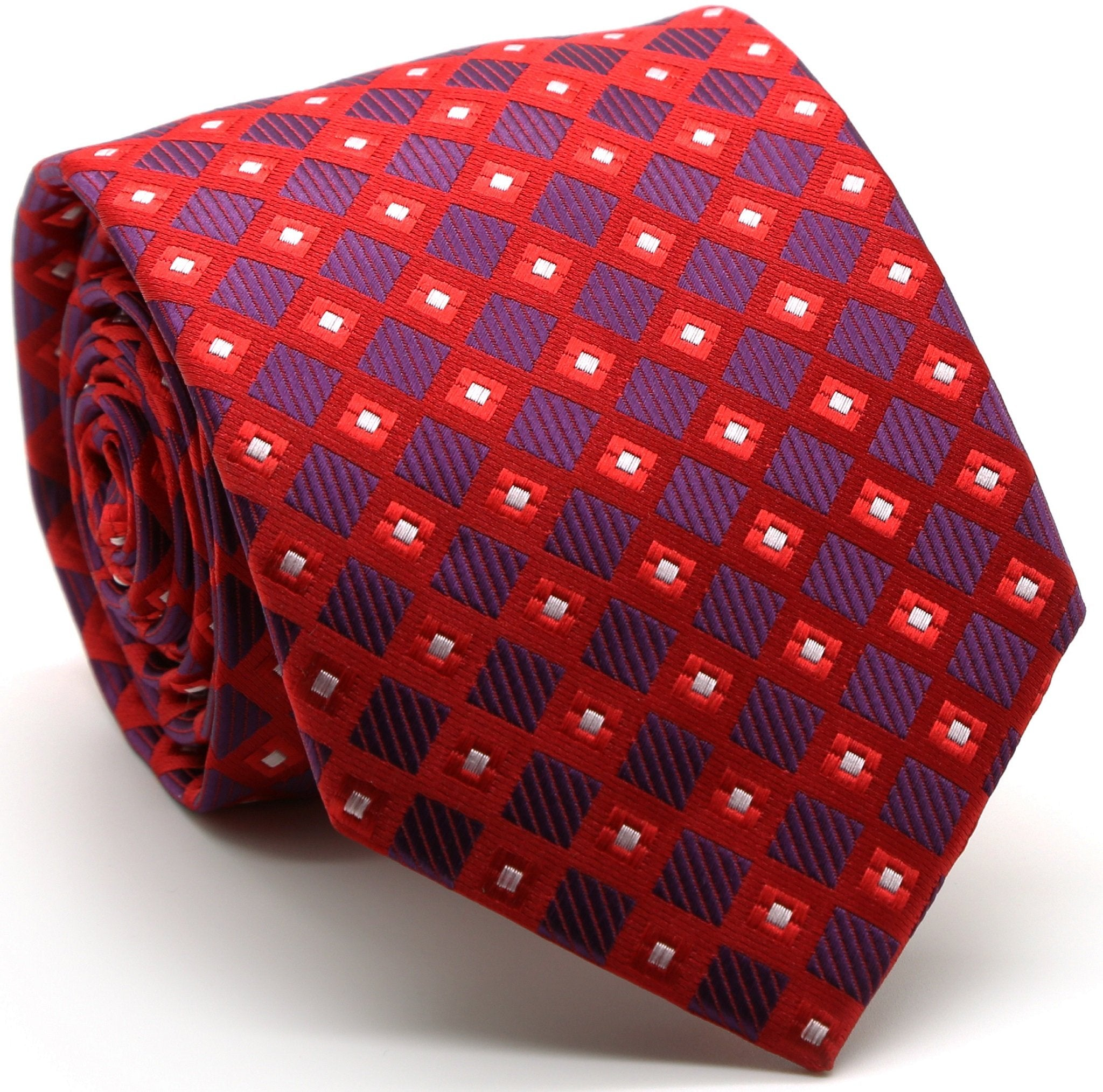 Mens Dads Classic Red Geometric Pattern Business Casual Necktie & Hanky Set E-10 - Giorgio's Menswear