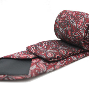 Mens Dads Classic Red Paisley Pattern Business Casual Necktie & Hanky Set EF-3 - Giorgio's Menswear