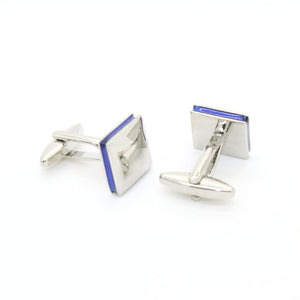 Silvertone Blue Lining Cuff Links With Jewelry Box - Giorgio's Menswear