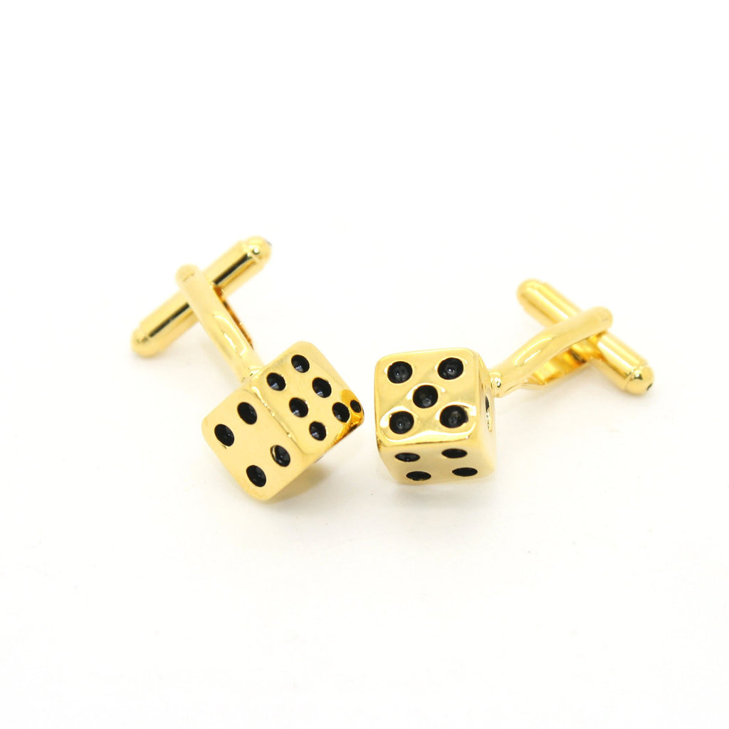 Goldtone Dice Cuff Links With Jewelry Box - Giorgio's Menswear
