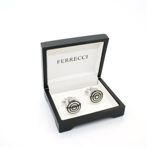 Silvertone Round Cuff Links With Jewelry Box - Giorgio's Menswear