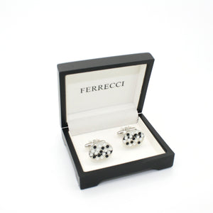 Silvertone Black White Oval Cuff Links With Jewelry Box - Giorgio's Menswear