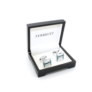Silvertone Sky Blue Cuff Links With Jewelry Box - Giorgio's Menswear