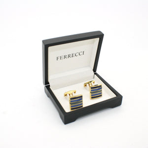 Goldtone Blue Stripe Cuff Links With Jewelry Box - Giorgio's Menswear