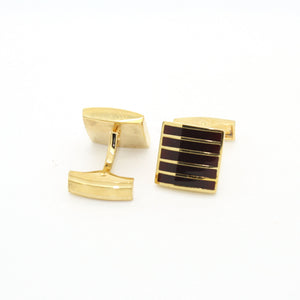 Goldtone Burgundy Stripe Cuff Links With Jewelry Box - Giorgio's Menswear