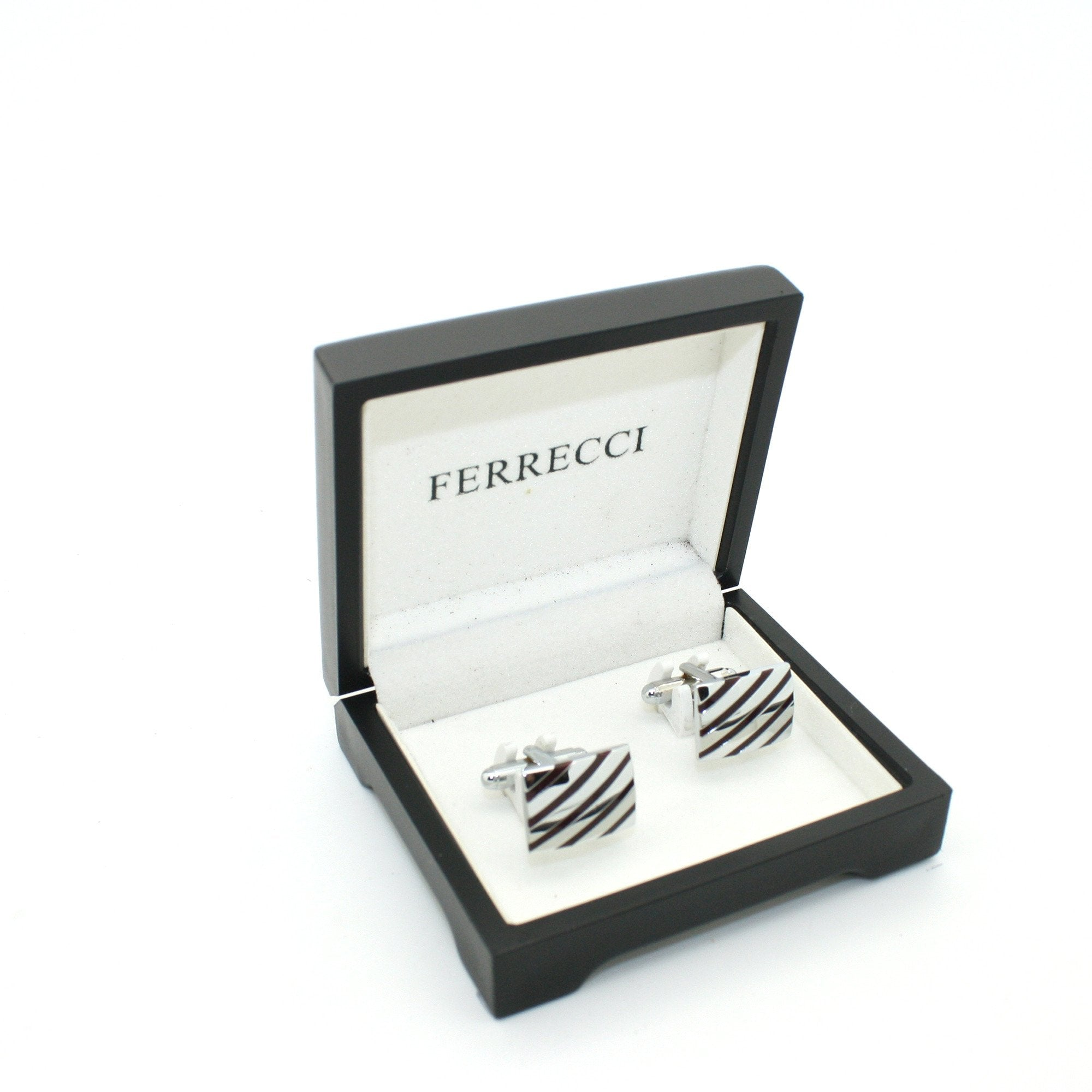 Silvertone Stripe Cuff Links With Jewelry Box - Giorgio's Menswear