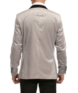 Enzo Light Grey Velvet Slim Fit Shawl Lapel Tuxedo Blazer - Giorgio's Menswear