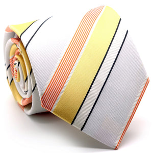 Mens Dads Classic Yellow Striped Pattern Business Casual Necktie & Hanky Set EO-11 - Giorgio's Menswear