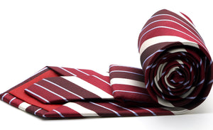 Mens Dads Classic Red Striped Pattern Business Casual Necktie & Hanky Set EO-7 - Giorgio's Menswear