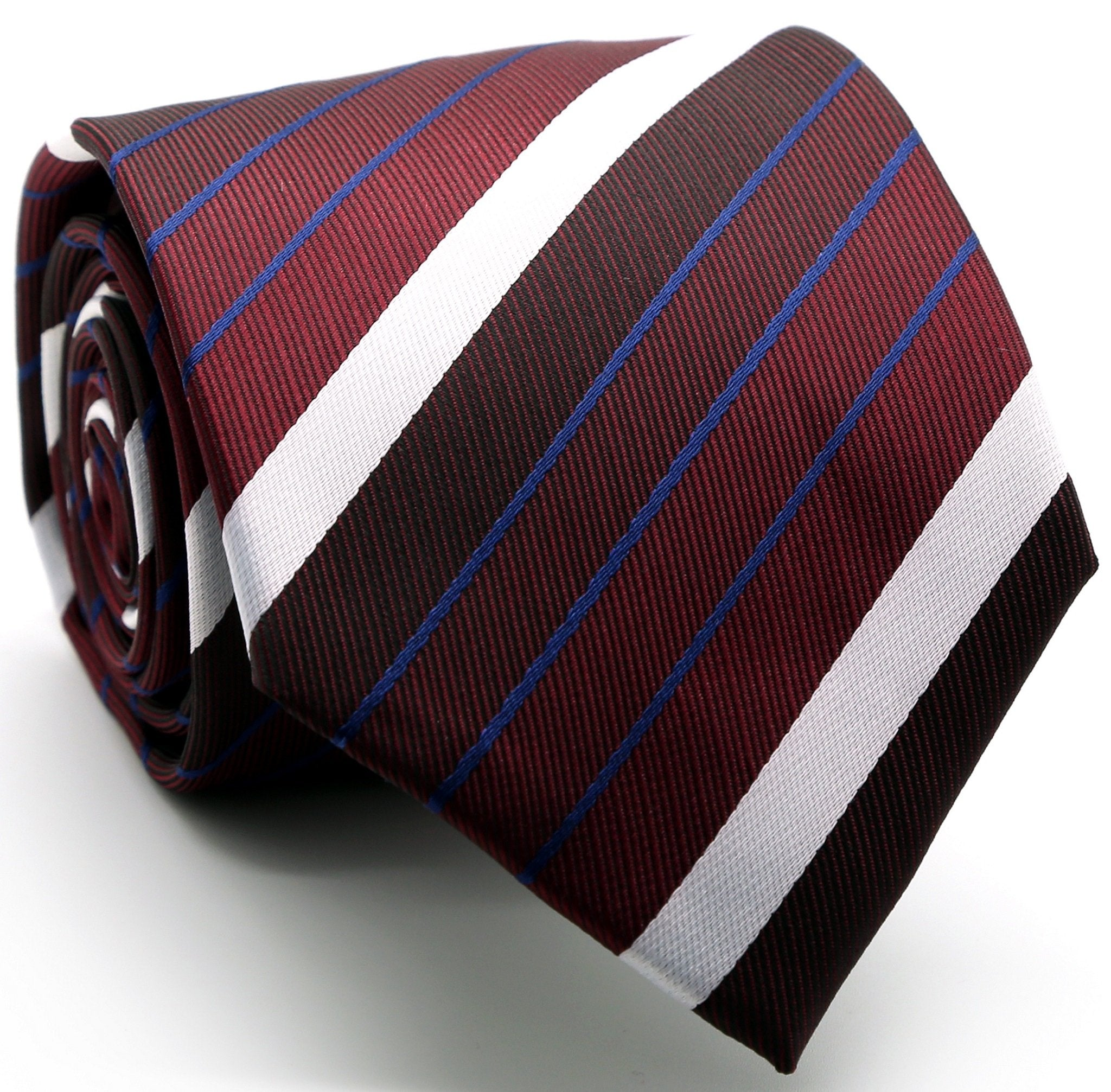Mens Dads Classic Red Striped Pattern Business Casual Necktie & Hanky Set EO-9 - Giorgio's Menswear
