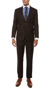 Etro Mens Brown Pinstripe Slim Fit Notch Lapel 2pc Suit - Giorgio's Menswear