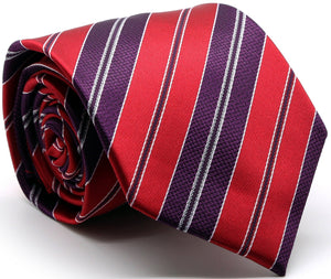 Mens Dads Classic Red Striped Pattern Business Casual Necktie & Hanky Set F-5 - Giorgio's Menswear