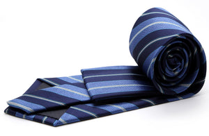 Mens Dads Classic Turquoise Striped Pattern Business Casual Necktie & Hanky Set F-6 - Giorgio's Menswear