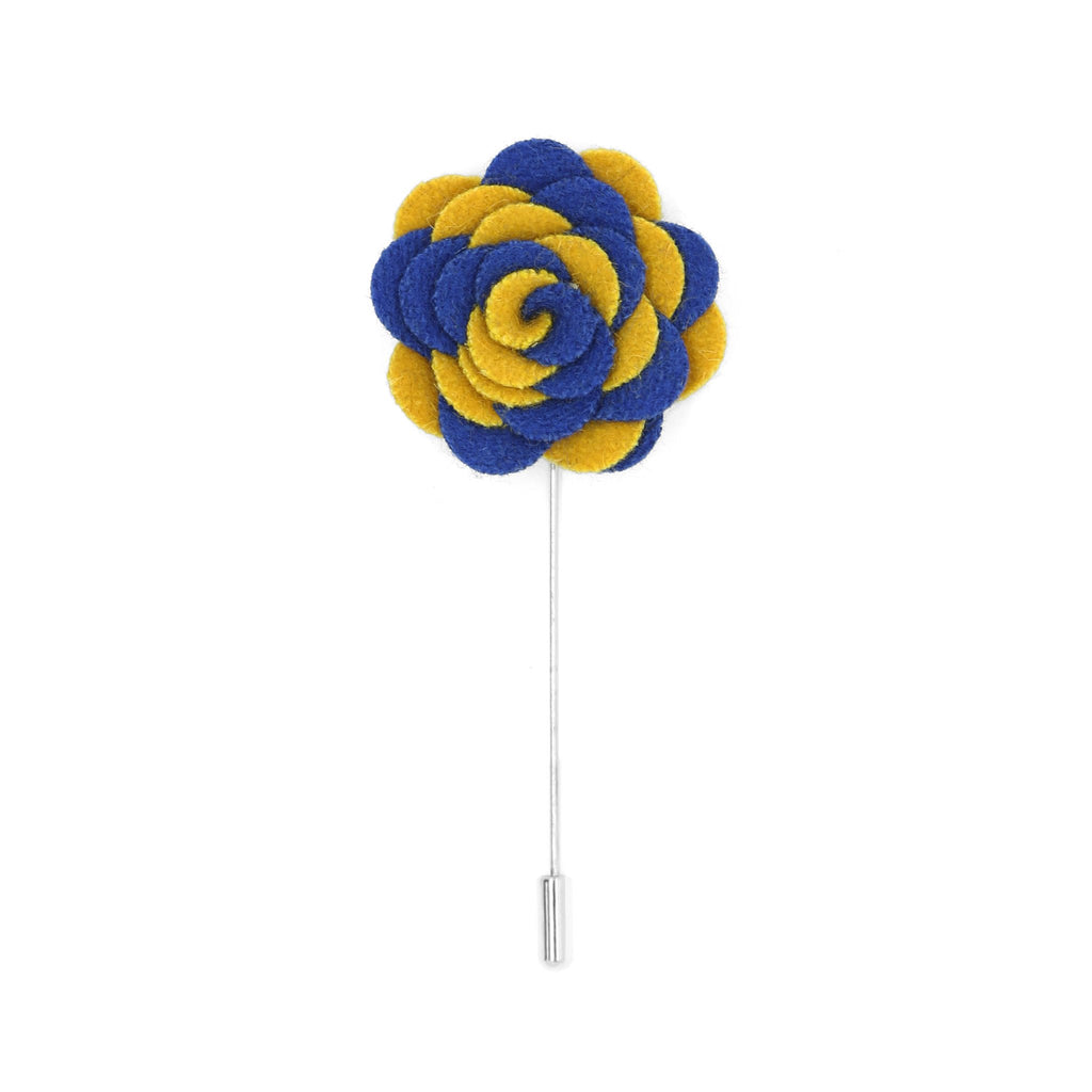 Florance 21 Royal Blue & Yellow Lapel Pin - Giorgio's Menswear