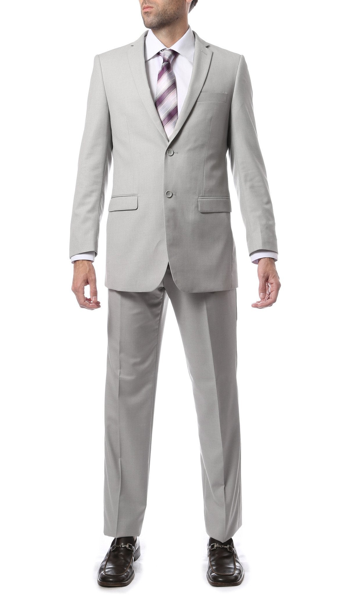 Premium Mens 2 Button Regular Fit Light Grey Suit - Giorgio's Menswear