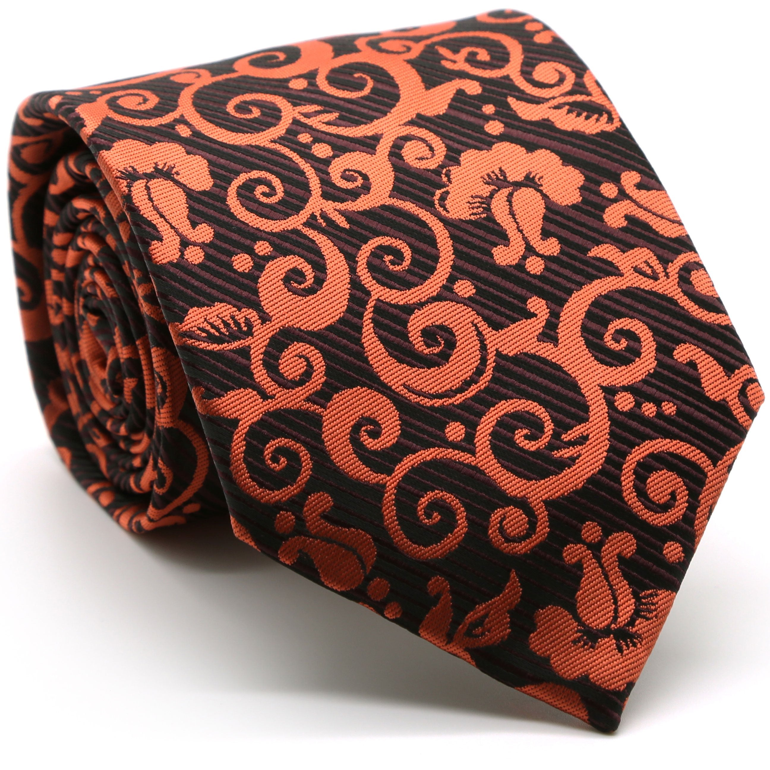 Mens Dads Classic Orange Paisley Pattern Business Casual Necktie & Hanky Set FO-5 - Giorgio's Menswear