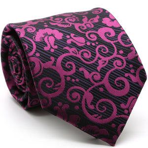 Mens Dads Classic Purple Paisley Pattern Business Casual Necktie & Hanky Set FO-6 - Giorgio's Menswear