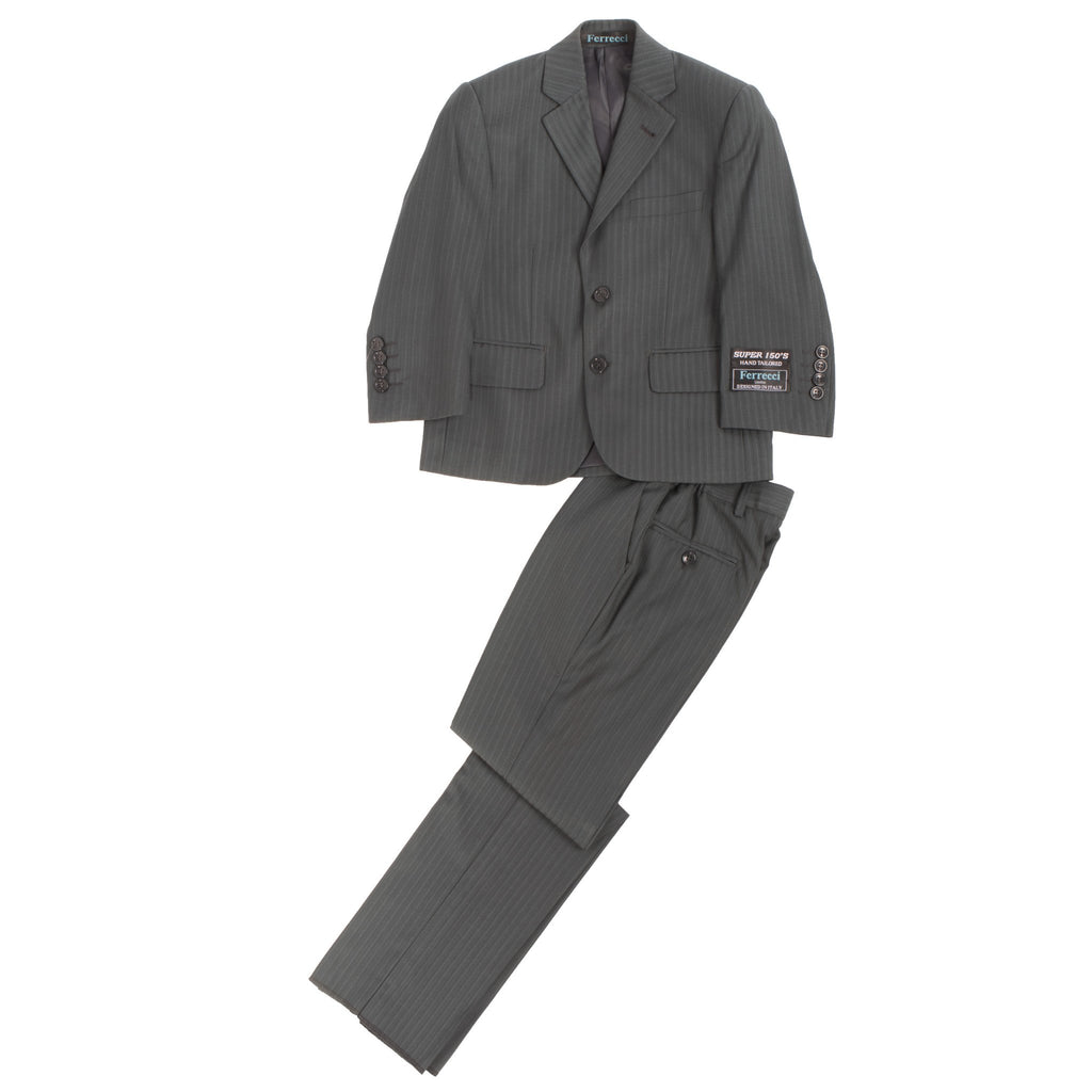 Boys Premium Grey Green Striped 2pc Suit - Giorgio's Menswear
