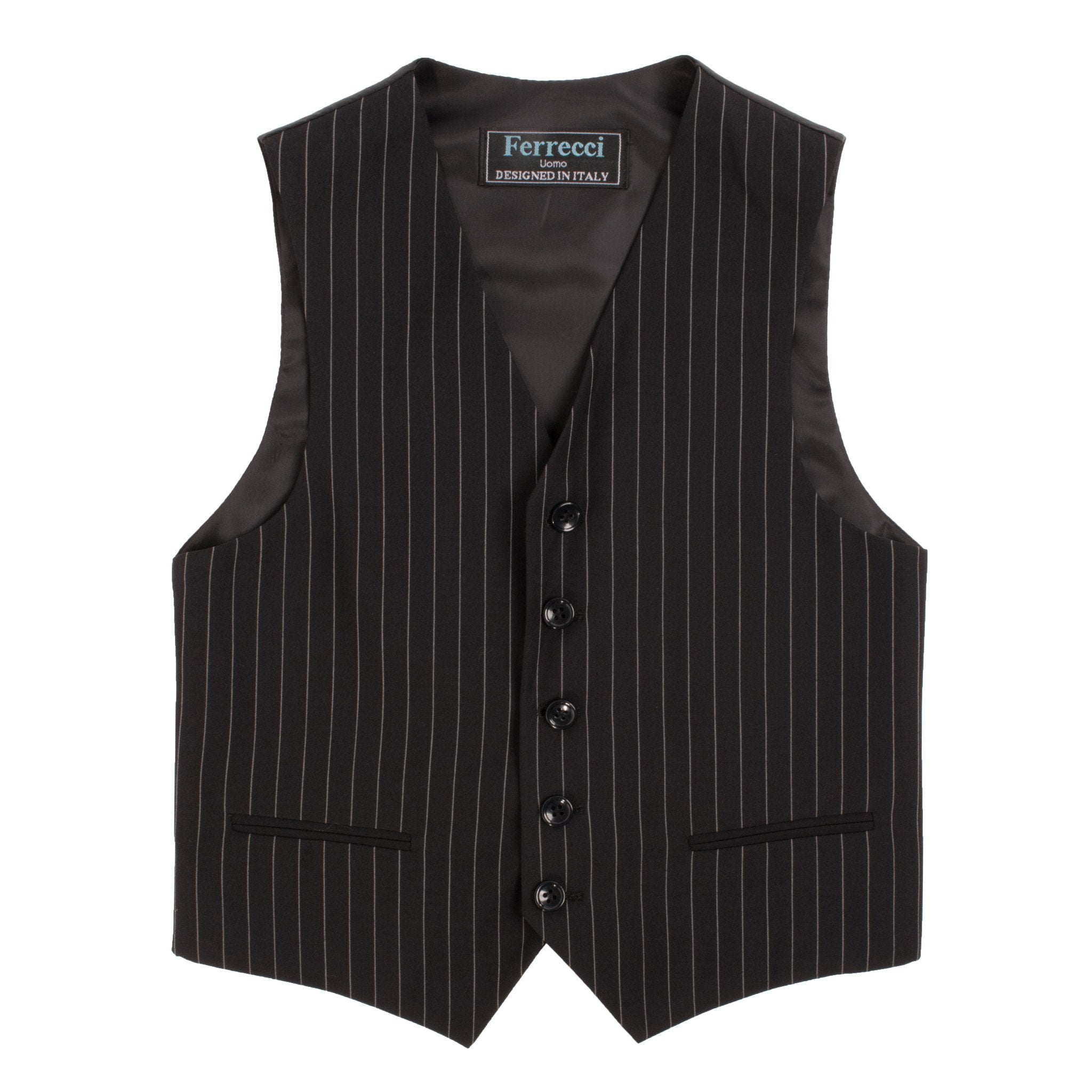 Boys Premium Black Pinstripe 3pc Vested Suit - Giorgio's Menswear