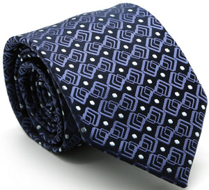 Mens Dads Classic Navy Geometric Pattern Business Casual Necktie & Hanky Set G-2 - Giorgio's Menswear