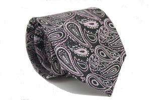 Mens Dads Classic Black Pink Paisley Pattern Business Casual Necktie & Hanky Set GF-2 - Giorgio's Menswear