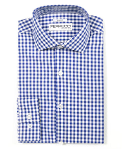 Blue Gingham Check Dress Shirt - Slim Fit - Giorgio's Menswear