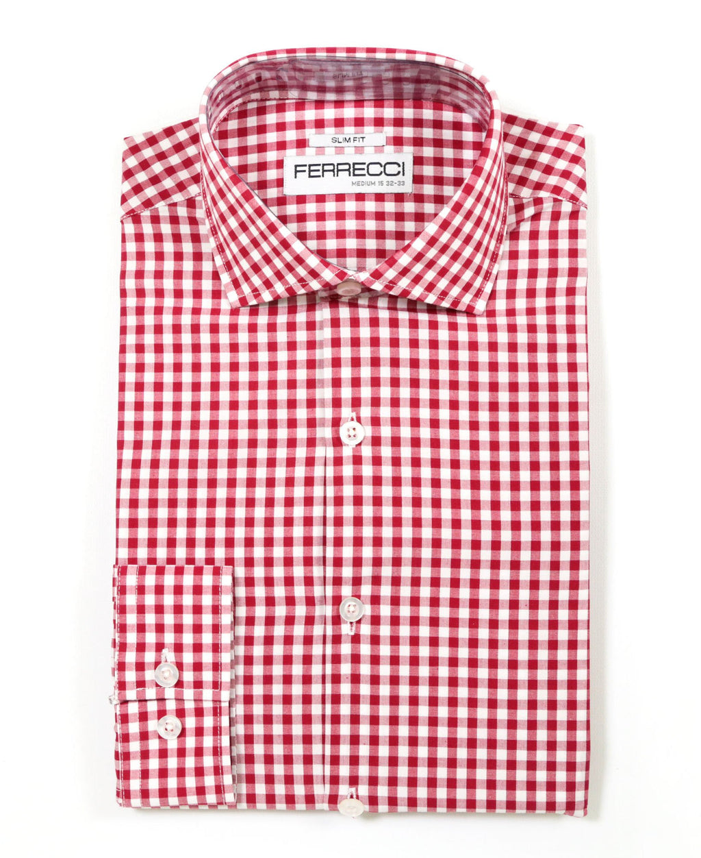 Red Gingham Check Dress Shirt - Slim Fit - Giorgio's Menswear