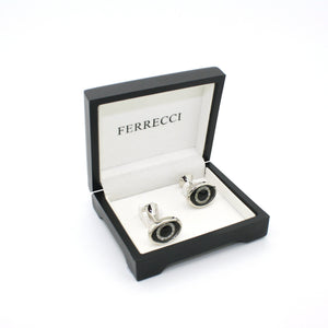 Silvertone Evil Eye Glass Stone Cuff Links With Jewelry Box - Giorgio's Menswear