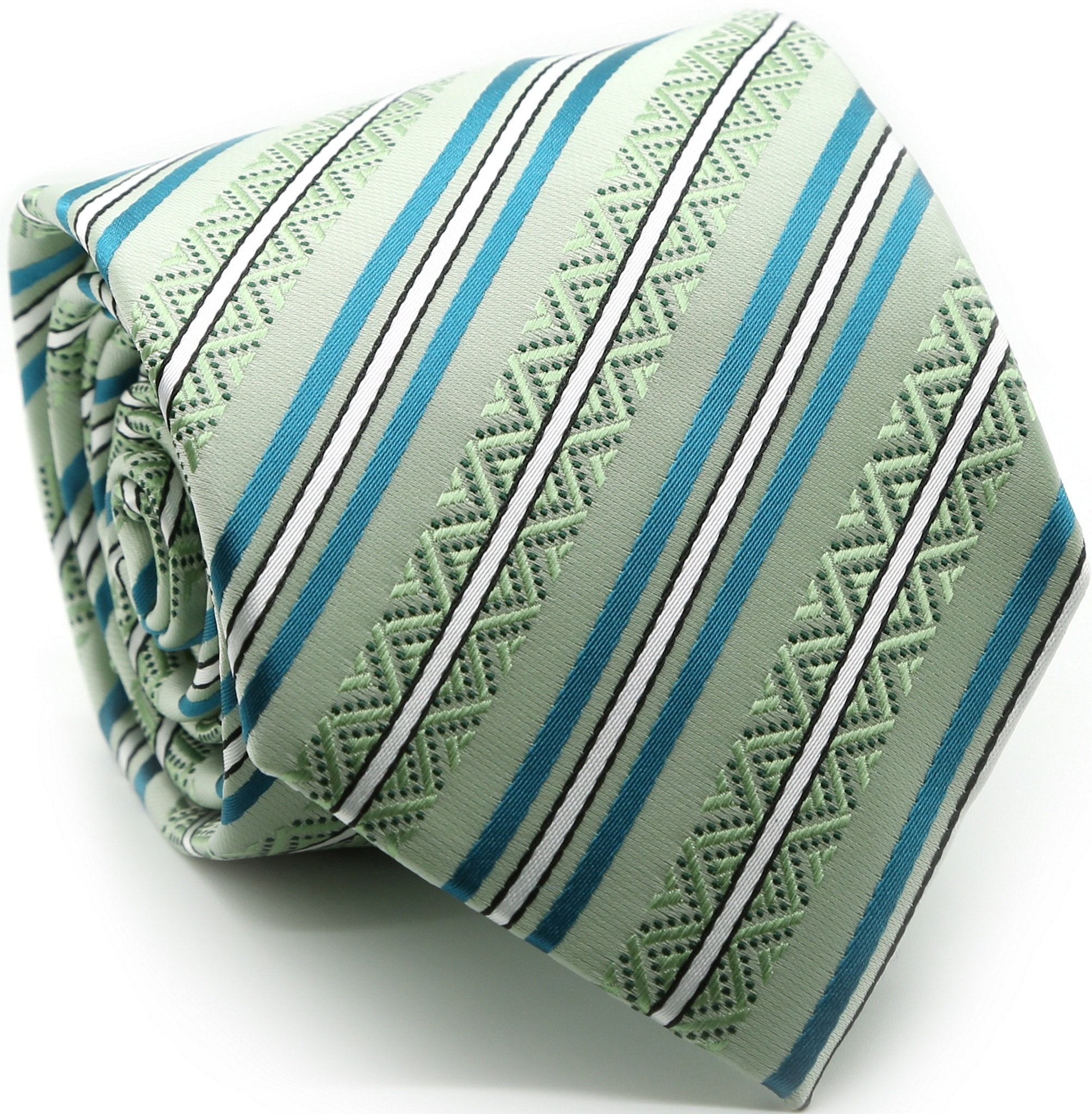 Mens Dads Classic Green Striped Pattern Business Casual Necktie & Hanky Set H-10 - Giorgio's Menswear