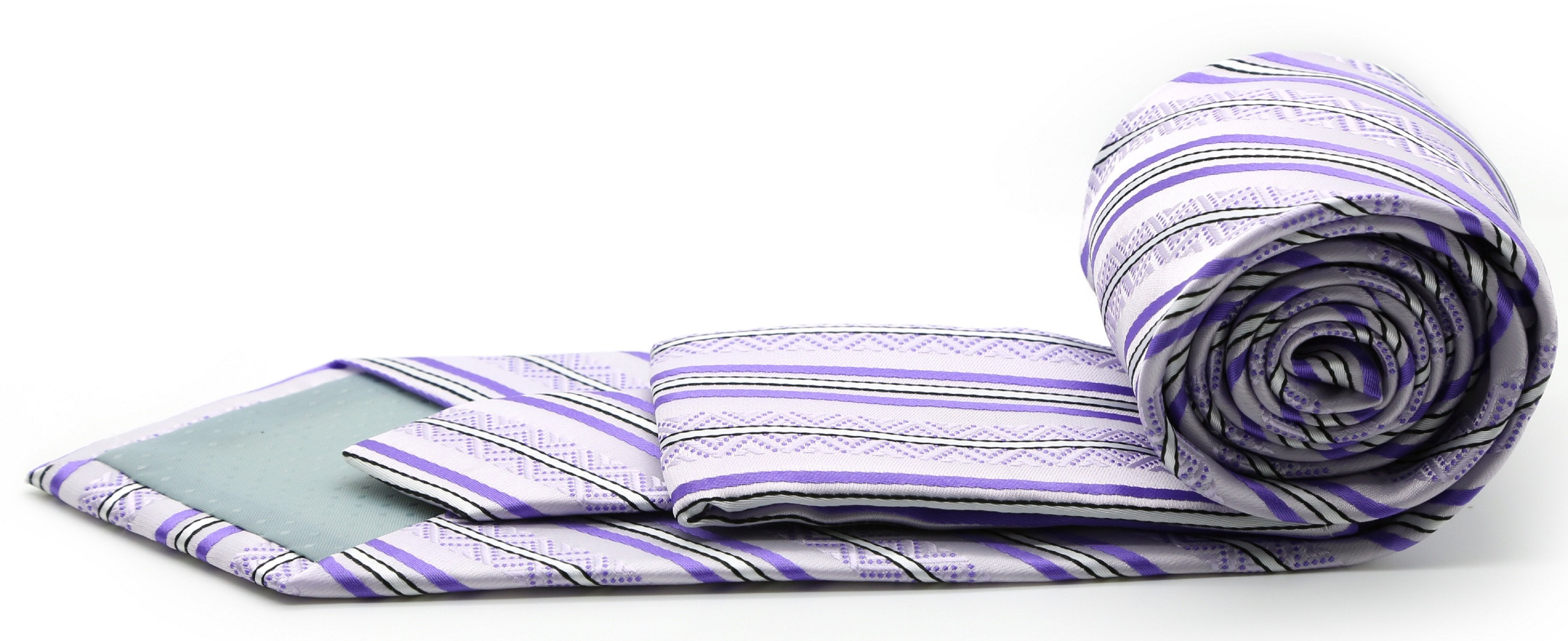 Mens Dads Classic Purple Striped Pattern Business Casual Necktie & Hanky Set H-12 - Giorgio's Menswear