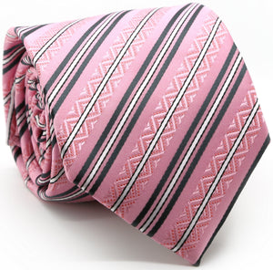 Mens Dads Classic Purple Striped Pattern Business Casual Necktie & Hanky Set H-7 - Giorgio's Menswear